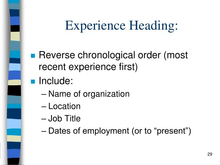 Experience Heading:
