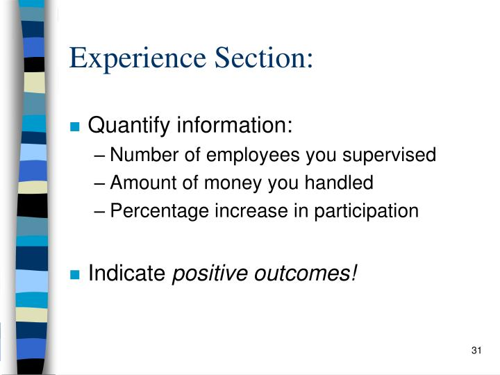 Experience Section: