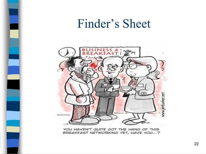 Finder's Sheet