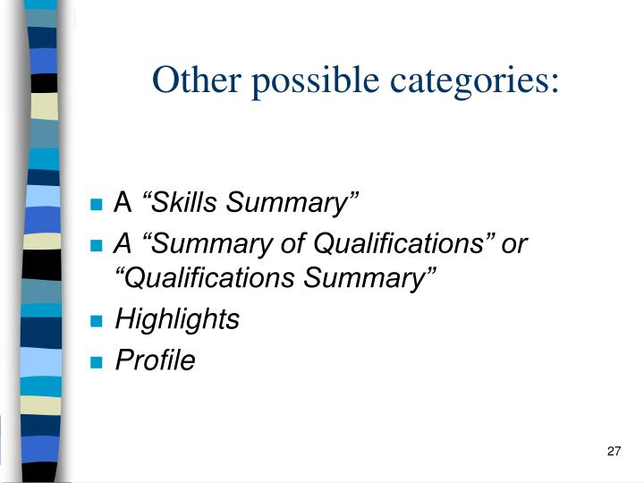 Other possible categories: