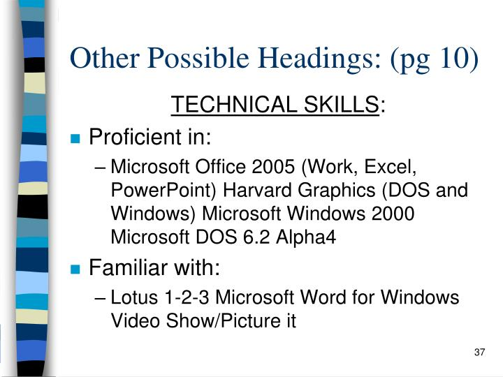 Other Possible Headings: (pg 10)