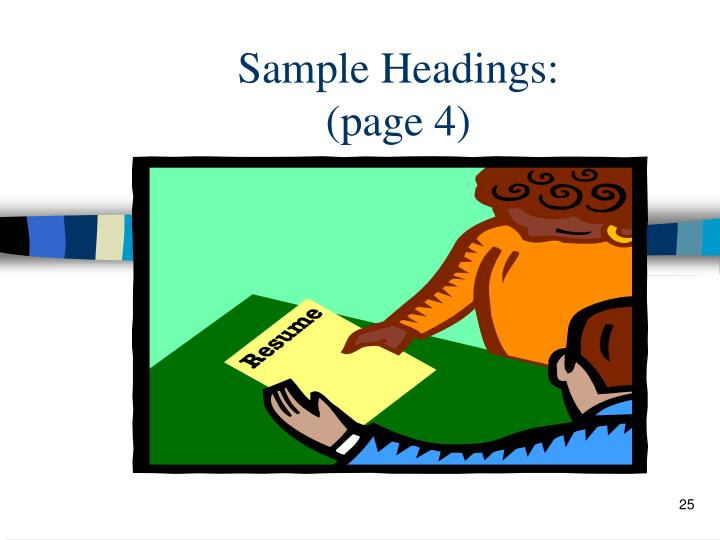 Sample Headings:
