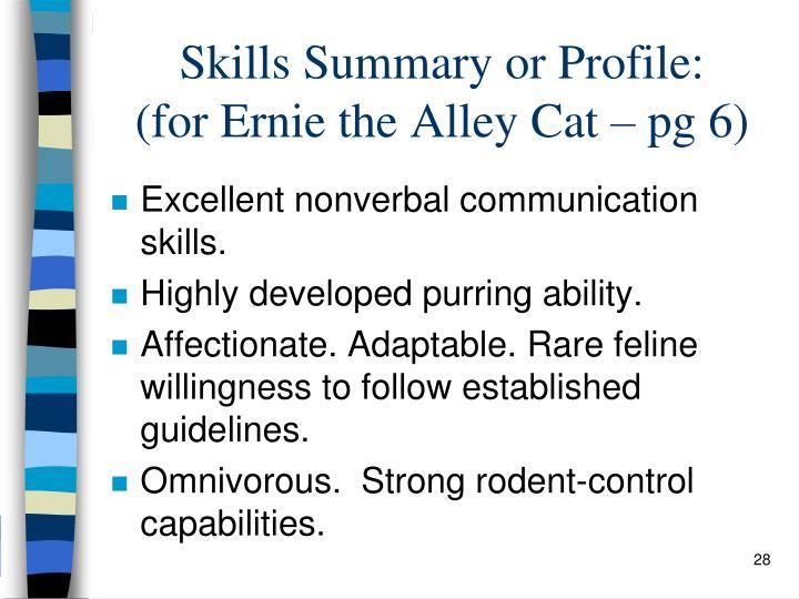 Skills Summary or Profile: