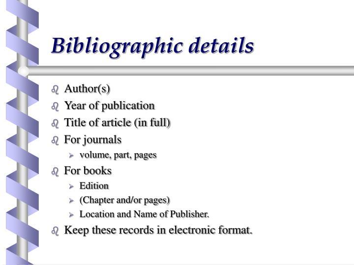Bibliographic details