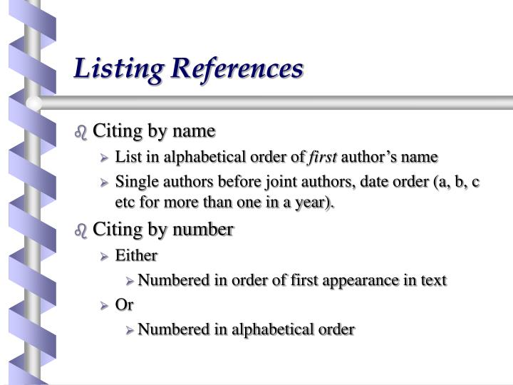 Listing References