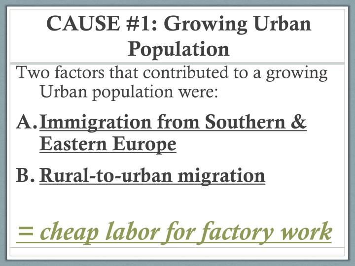 CAUSE #1: Growing Urban Population