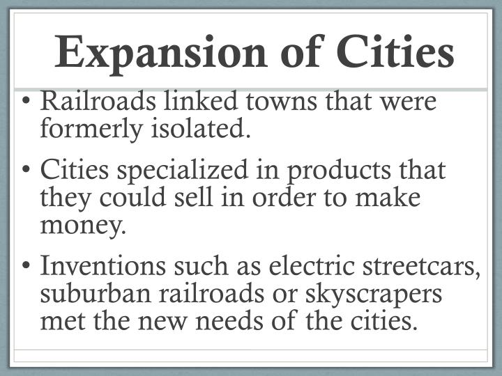Expansion of Cities