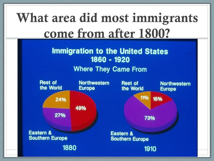 What area did most immigrants come from after 1800?