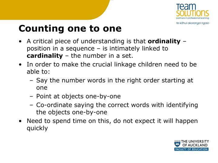 Counting one to one