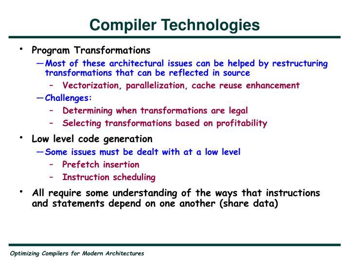 Compiler Technologies