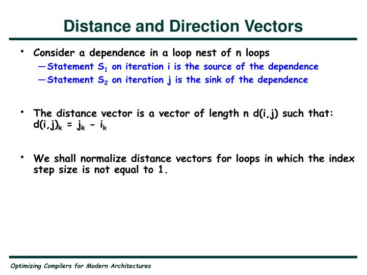 Distance and Direction Vectors