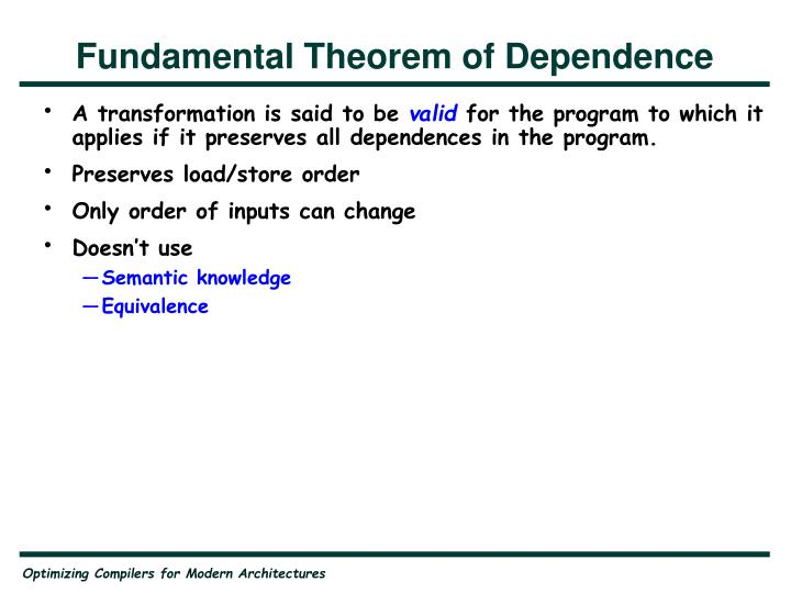 Fundamental Theorem of Dependence