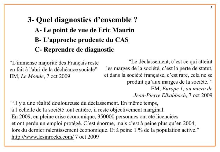 3- Quel diagnostics d'ensemble ?