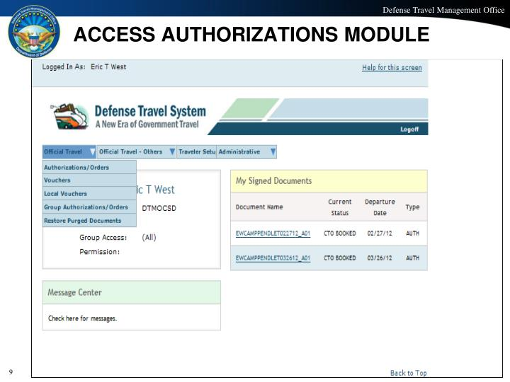 ACCESS AUTHORIZATIONS MODULE