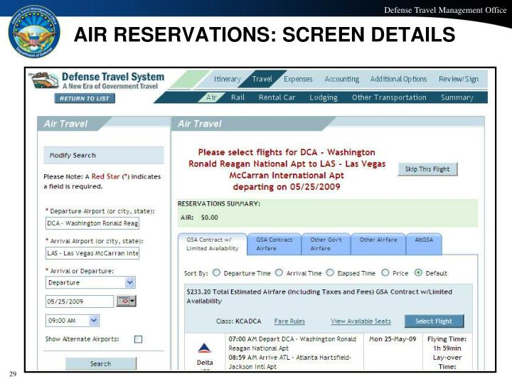 AIR RESERVATIONS: SCREEN DETAILS