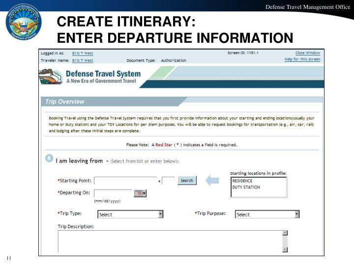 CREATE ITINERARY: