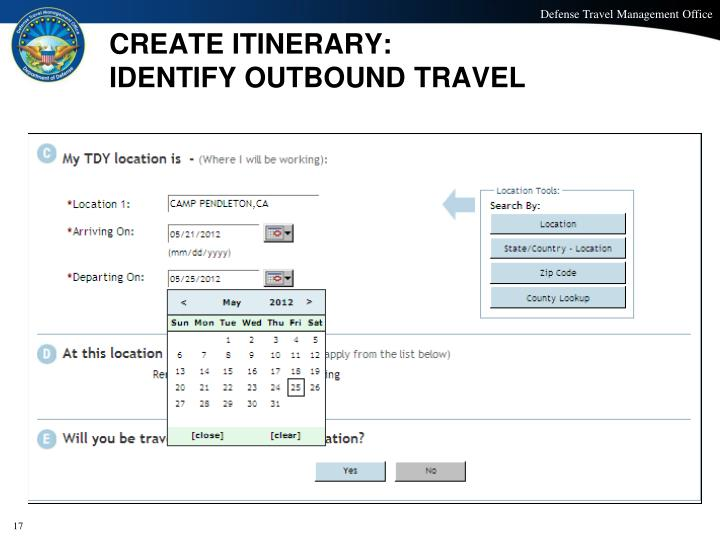 CREATE ITINERARY: