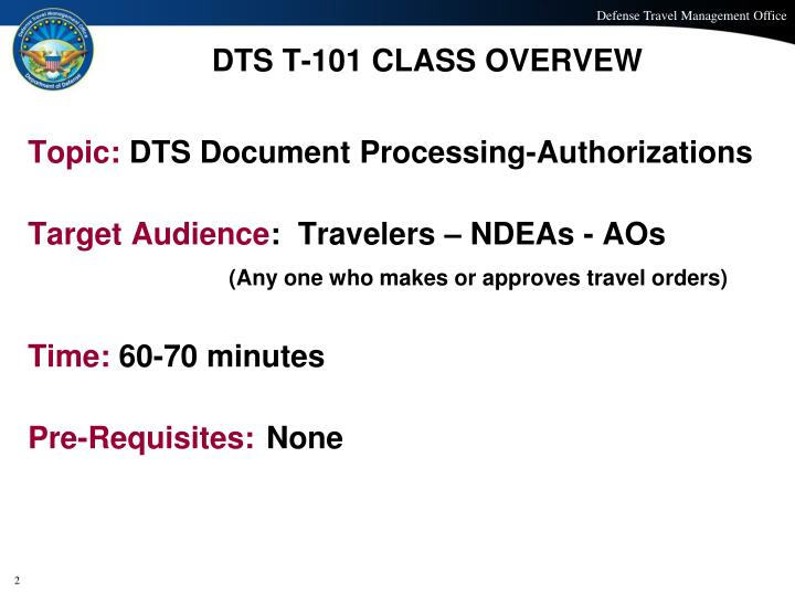 DTS T-101 CLASS OVERVEW