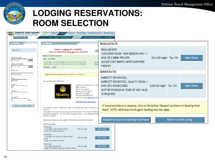 LODGING RESERVATIONS: