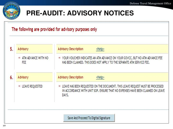 PRE-AUDIT: ADVISORY NOTICES