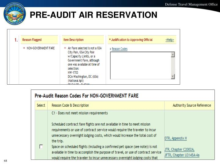 PRE-AUDIT AIR RESERVATION
