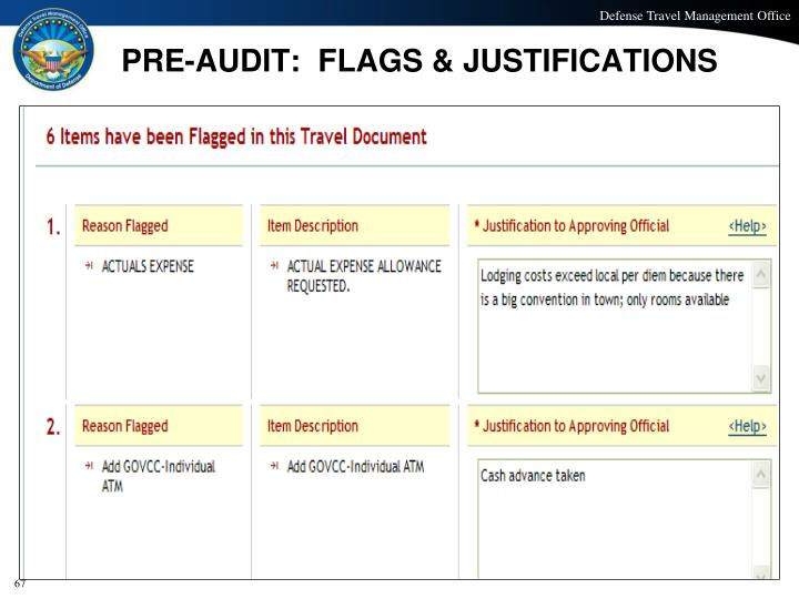 PRE-AUDIT:  FLAGS & JUSTIFICATIONS