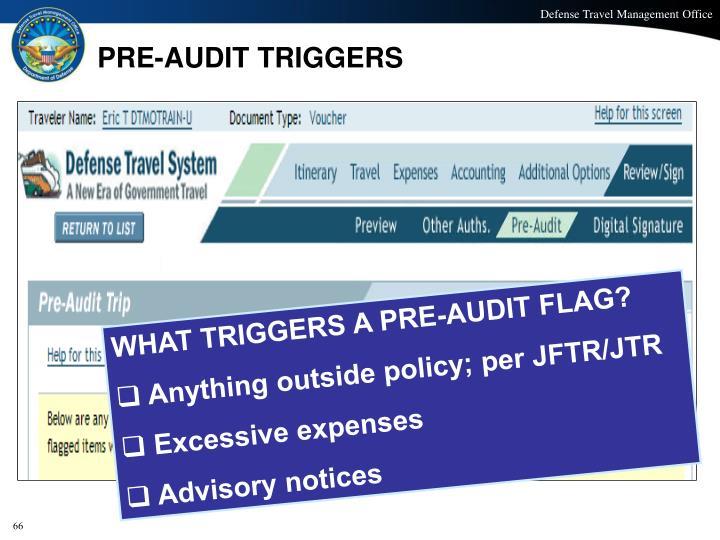 PRE-AUDIT TRIGGERS