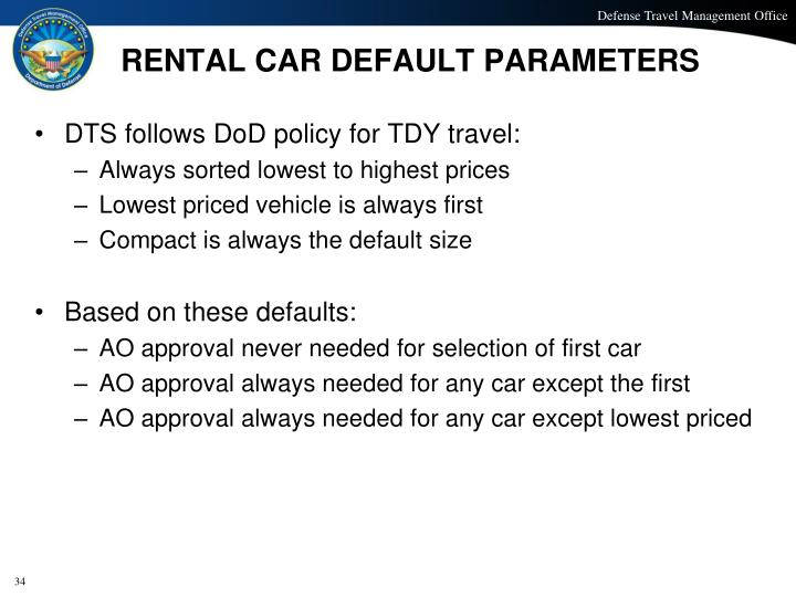 RENTAL CAR DEFAULT PARAMETERS