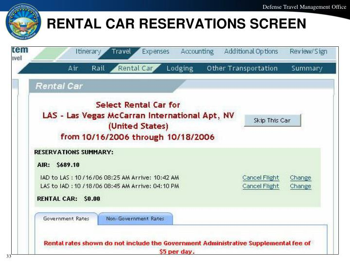 RENTAL CAR RESERVATIONS SCREEN