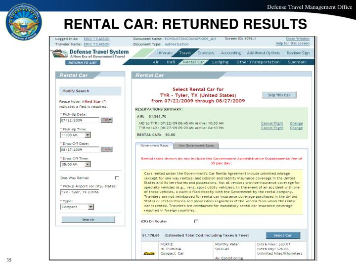 RENTAL CAR: RETURNED RESULTS