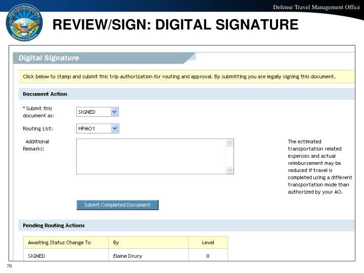 REVIEW/SIGN: DIGITAL SIGNATURE