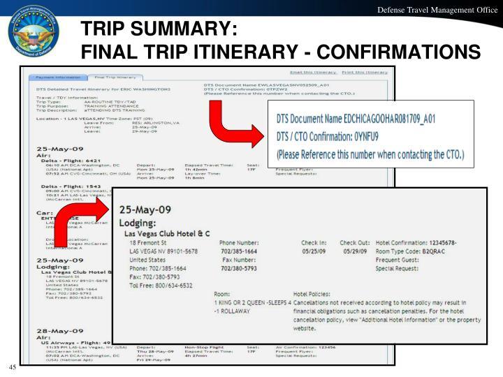 TRIP SUMMARY: