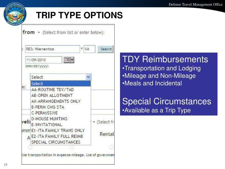 TRIP TYPE OPTIONS