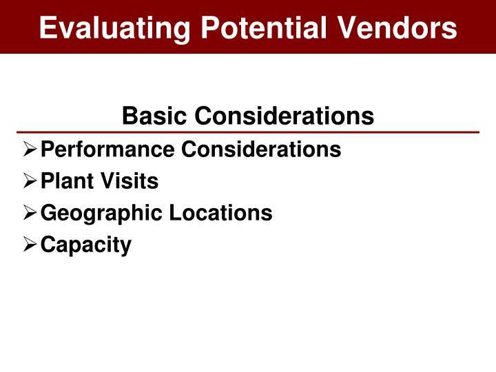 Evaluating Potential Vendors