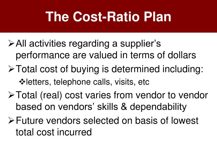 The Cost-Ratio Plan
