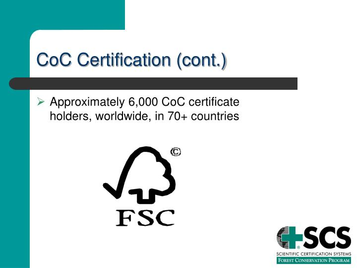 CoC Certification (cont.)