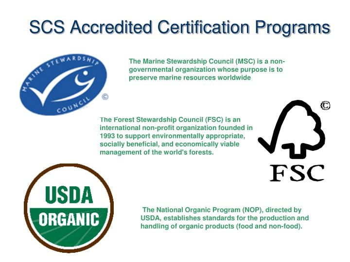 SCS Accredited Certification Programs