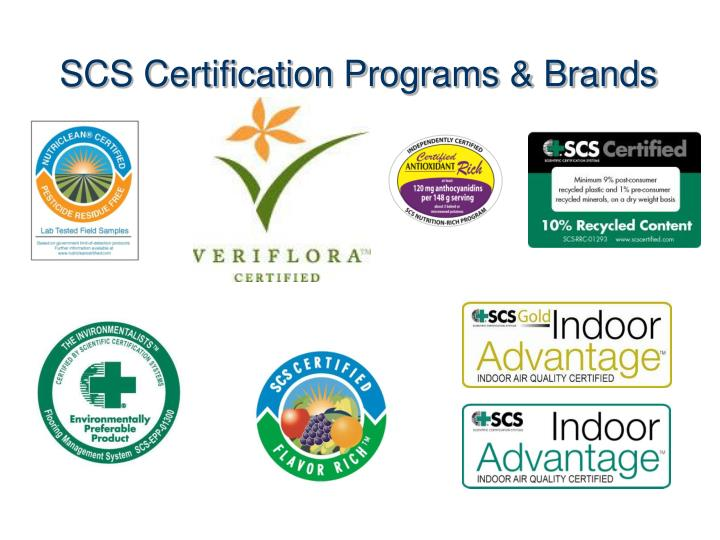SCS Certification Programs & Brands