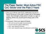 the paper sector most active fsc coc sector over the past 3 years