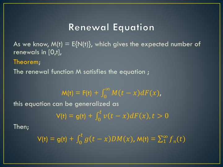 Renewal Equation