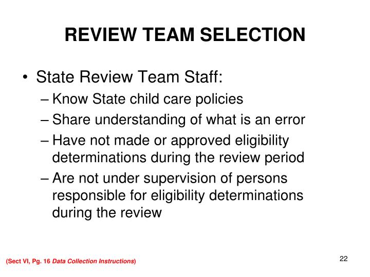 REVIEW TEAM SELECTION