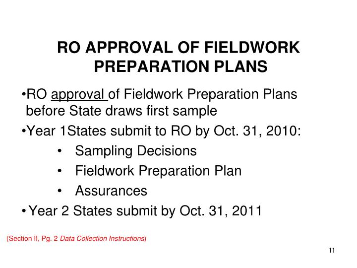 RO APPROVAL OF FIELDWORK