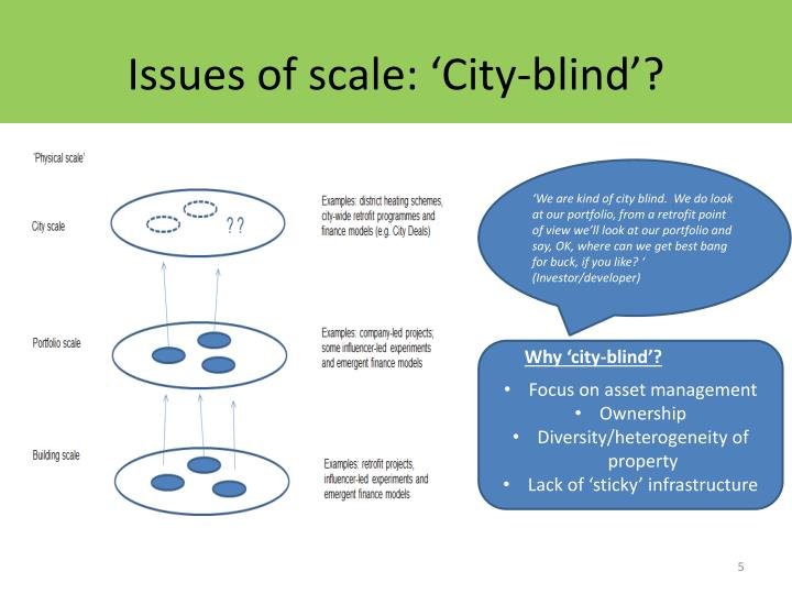 Issues of scale: 'City-blind'?