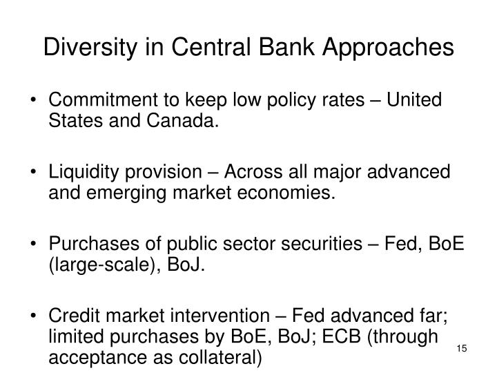 Diversity in Central Bank Approaches
