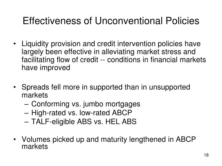 Effectiveness of Unconventional Policies