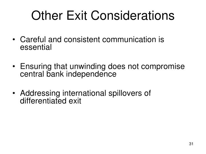 Other Exit Considerations