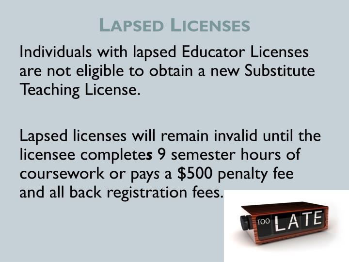 Lapsed Licenses