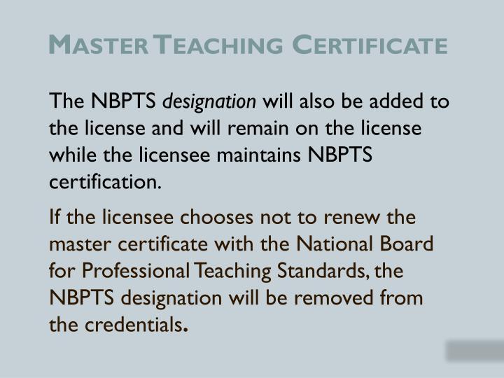 Master Teaching Certificate