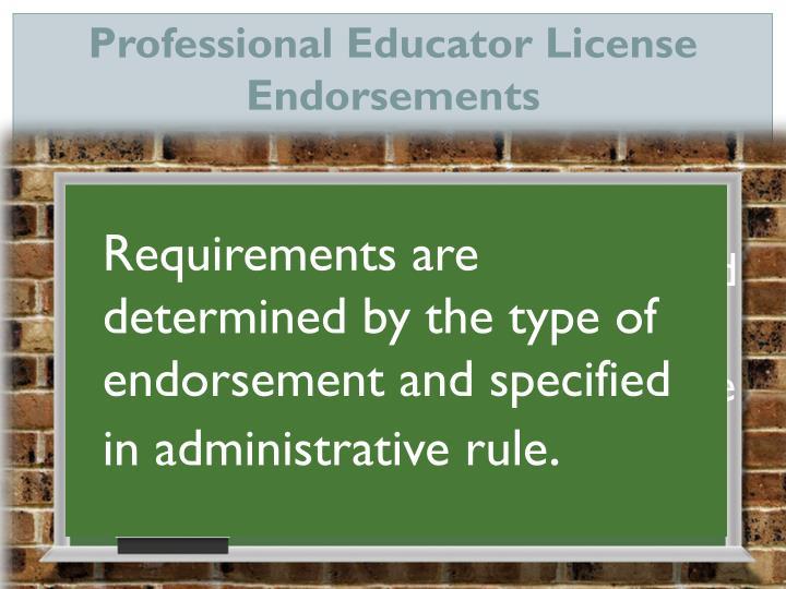 Professional Educator License Endorsements
