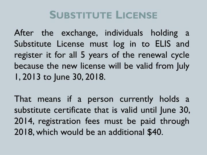 Substitute License
